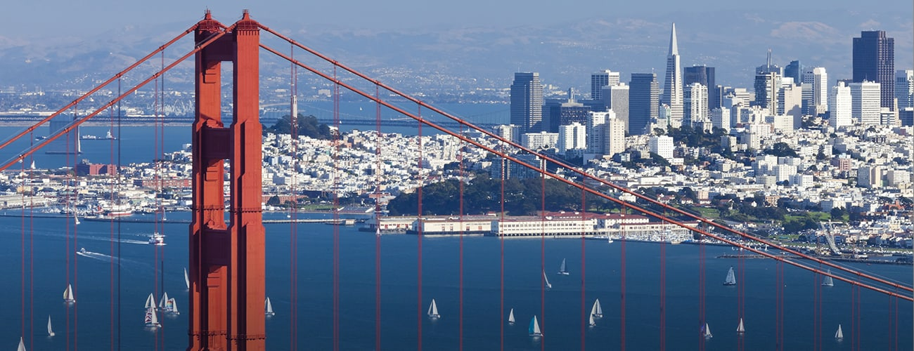 San Francisco Skyline with golden bridge in the forefront